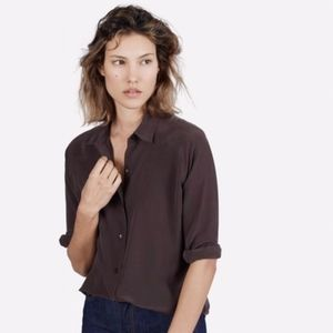 Everlane Chocolate Brown Relaxed Silk Shirt